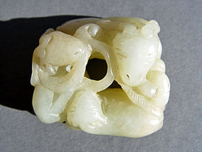 Rare Yellow Jade group of three Ram