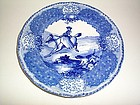 DOULTON BURSLEM FLOW BLUE ORIEL FOX HUNT10'' PLATE
