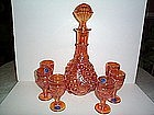 IMPERIAL GRAPE 7 PIECE WINE SET MARIGOLD CARNIVAL GLASS