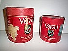 1940'S WWII CARDBOARD VELVET TOBACCO CONTAINER