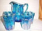 WESTMORELAND LEVAY COLONIAL BLUE CARNIVAL WATER SET
