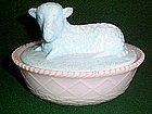BLUE MILK GLASS LAMB COVERED ANIMAL DISH