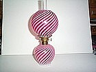 CRANBERRY OPALESCENT SWIRL MINIATURE OIL LAMP