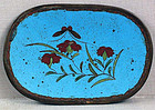19c Japanese cloisonne tray flowers tea ceremony