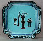 19c Chinese scholar Canton enamel DISH archaic vessels