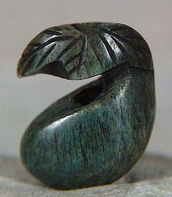 19c OJIME netsuke slide GOURD with leaf