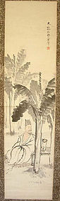 19c Japanese scroll painting poet Zengzhi by SOUISHI