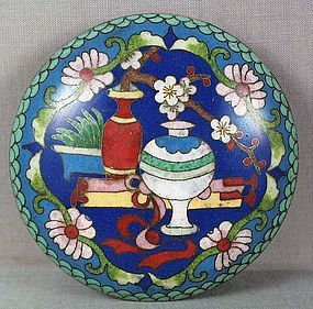 19c Chinese cloisonne SEAL PASTE BOX scholar items