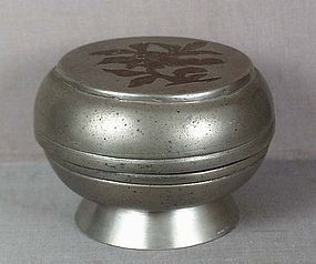 18/19c Chinese scholar pewter BOX inlaid flower