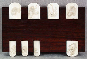 19c Japanese Whist Counter MONKEYS