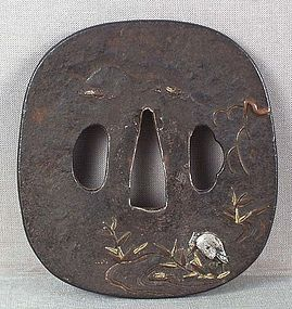 18/19c Japanese sword TSUBA EGRET by stream