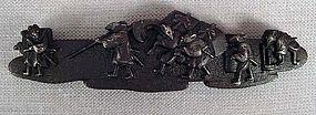19c Japanese iron POUCH CLASP netsuke SAMURAI RATS