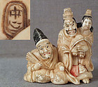 19c netsuke courtiers with CHILD EMPEROR by CHUICHI