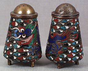 PAIR 1900s Chinese cloisonne SALTS DRAGONS