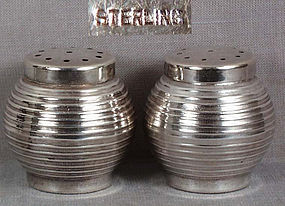 Pair 1930s Japanese silver salts PAPER LANTERNS