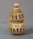 19c staghorn netsuke DOUBLE GOURD