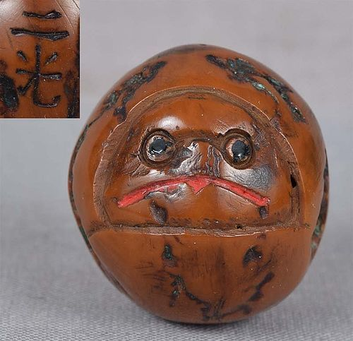 19c walnut netsuke TENGU by NIKO