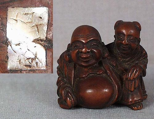 Early 19c netsuke HOTEI & karako by MINKOKU