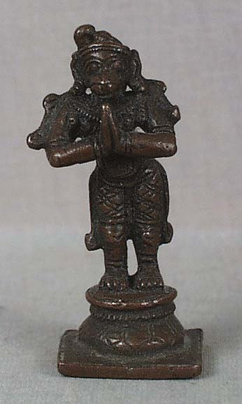 19c Indian bronze votive statue HANUMAN