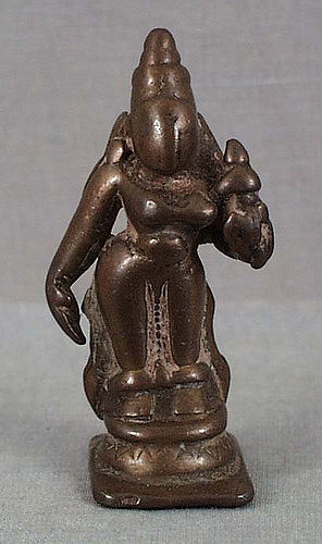 18c Indian bronze votive statue LAKSHMI SHRIDEVI