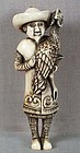 18c netsuke DUTCHMAN with rooster ex Royal
