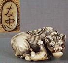 18c netsuke COW & GOAT by TOMOTADA
