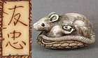 18c netsuke RAT & 2 young by TOMOTADA