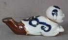 19c Japanese porcelain HIRADO BOY nodder BRUSHREST