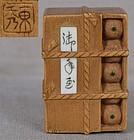 Meiji netsuke CRATE OF ORANGES by TOSHU