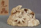 19c netsuke SANSUKUMI snake snail toad by KOCHO ex Storno