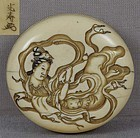 19c netsuke TENNIN Buddhist angel by KOJU