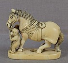 19c netsuke HORSE & MONKEY ex Royal Collection