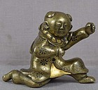 19c Japanese mixed metal SCROLL WEIGHT Chinese boy
