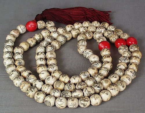 19c long Chinese BUDDHIST ROSARY mala LOHANS & ANIMALS
