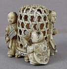 19c netsuke Chinese boys with bird cage ex Royal Collection