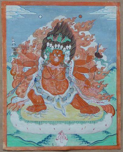 Early 19c Tibetan thangka HAYAGRIVA
