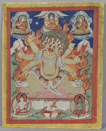 Early 19c Tibetan thangka WHITE HAYAGRIVA