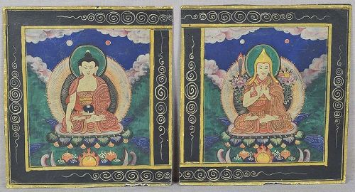 Pair early 19c Tibetan thangkas BUDDHA & TSONGKHAPA