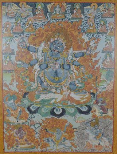 19c Tibetan thangka dharmapala MAHAKALA