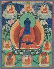 Early 19c Tibetan thangka AKSHOBYA with 8 Buddhas