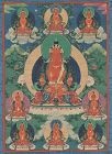 Early 19c Tibetan thangka AMITABHA with 8 manifestations
