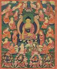 Early 19c Tibetan thangka SHAKYAMUNI with disciples & KINGS