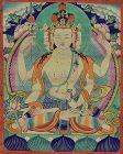 Early 19c Tibetan thangka BODHISATTVA AMOGHAPASHA