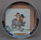 19c Japanese porcelain Imari plate BOY on BUFFALO
