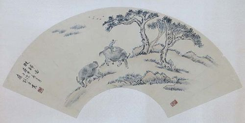 Chinese scholar fan painting BOYS & buffalos YIN YEPING