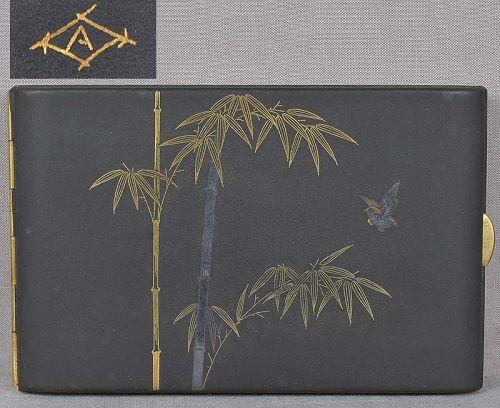 1920s Japanese KOMAI cigarette case SPARROW & BAMBOO
