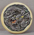 19c kagamibuta netsuke silver DRAGON