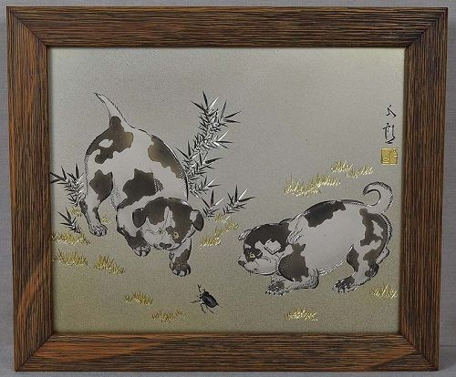 Japanese multi metal plaque PUPPIES & rhino BEETLE by GORO