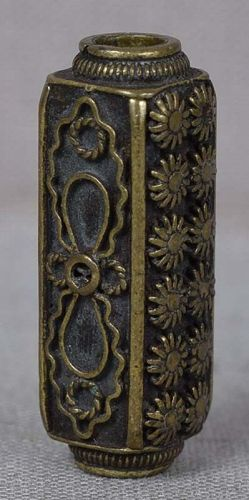 19c bronze OJIME netsuke cord slide CHRYSANTHEMUMS