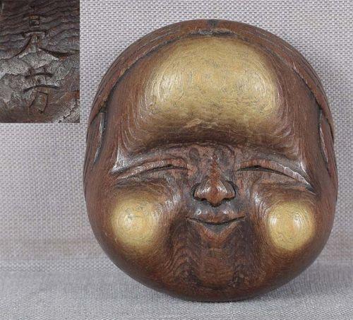 19c netsuke OKAME mask by SUKEYOSHI Hida school